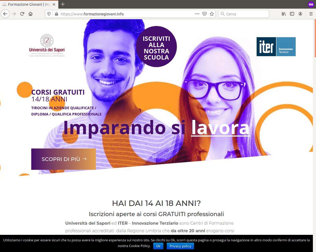 Screenshot del sito Formazione Giovani