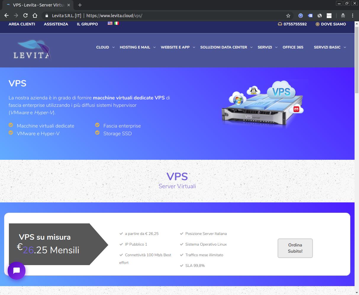 Screenshot del sito Levita