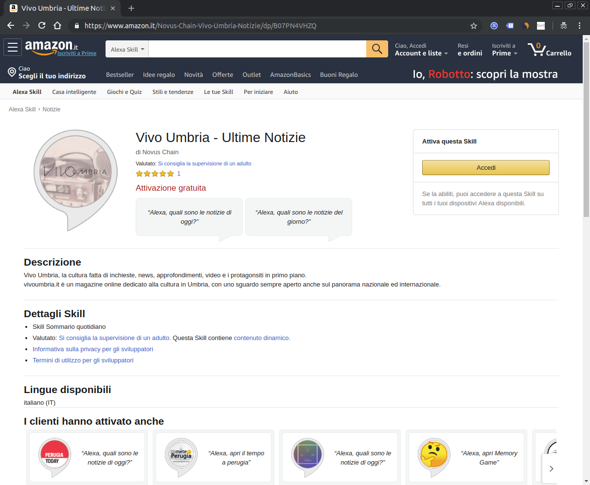 Screenshot Skill per Alexa di Vivo Umbria
