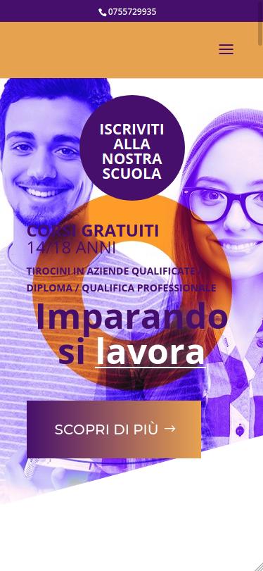Screenshot mobile del sito Formazione Giovani