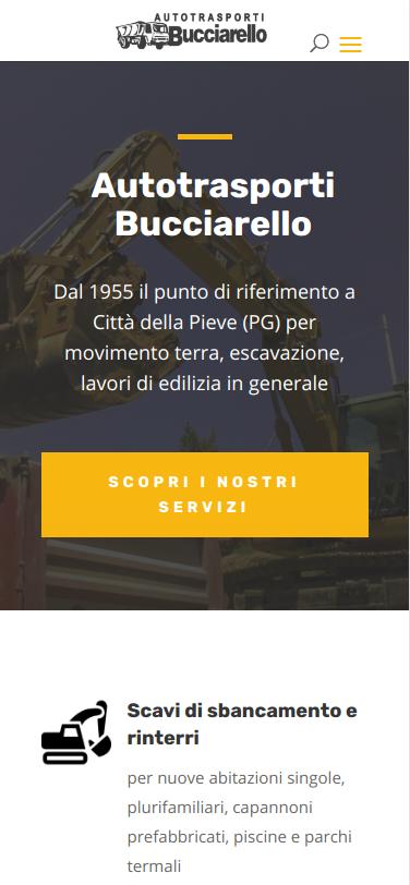 Screenshot mobile del sito Bucciarello