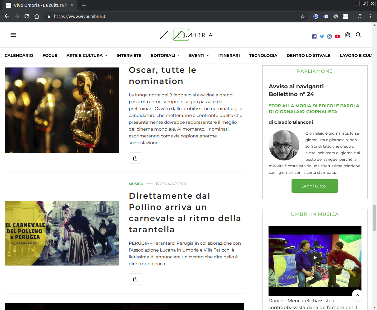 Screenshot del sito Vivo Umbria