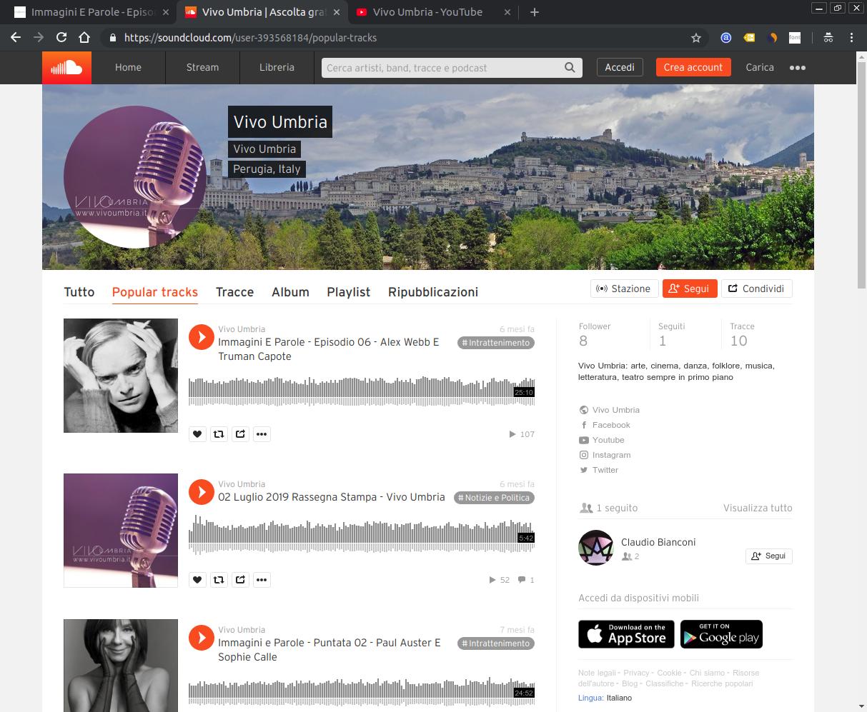 Screenshot del soundcloud di Vivo Umbria
