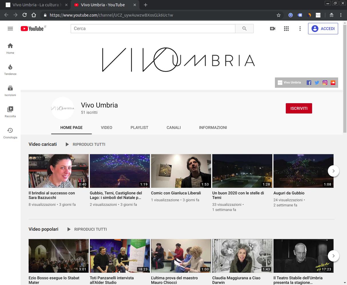 Screenshot del canale Youtube Vivo Umbria